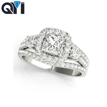 QYI Engagement For Women Classic Luxury Real Solid 925 Sterling Silver Ring Cushion Cut Zircon Wedding Jewelry Rings