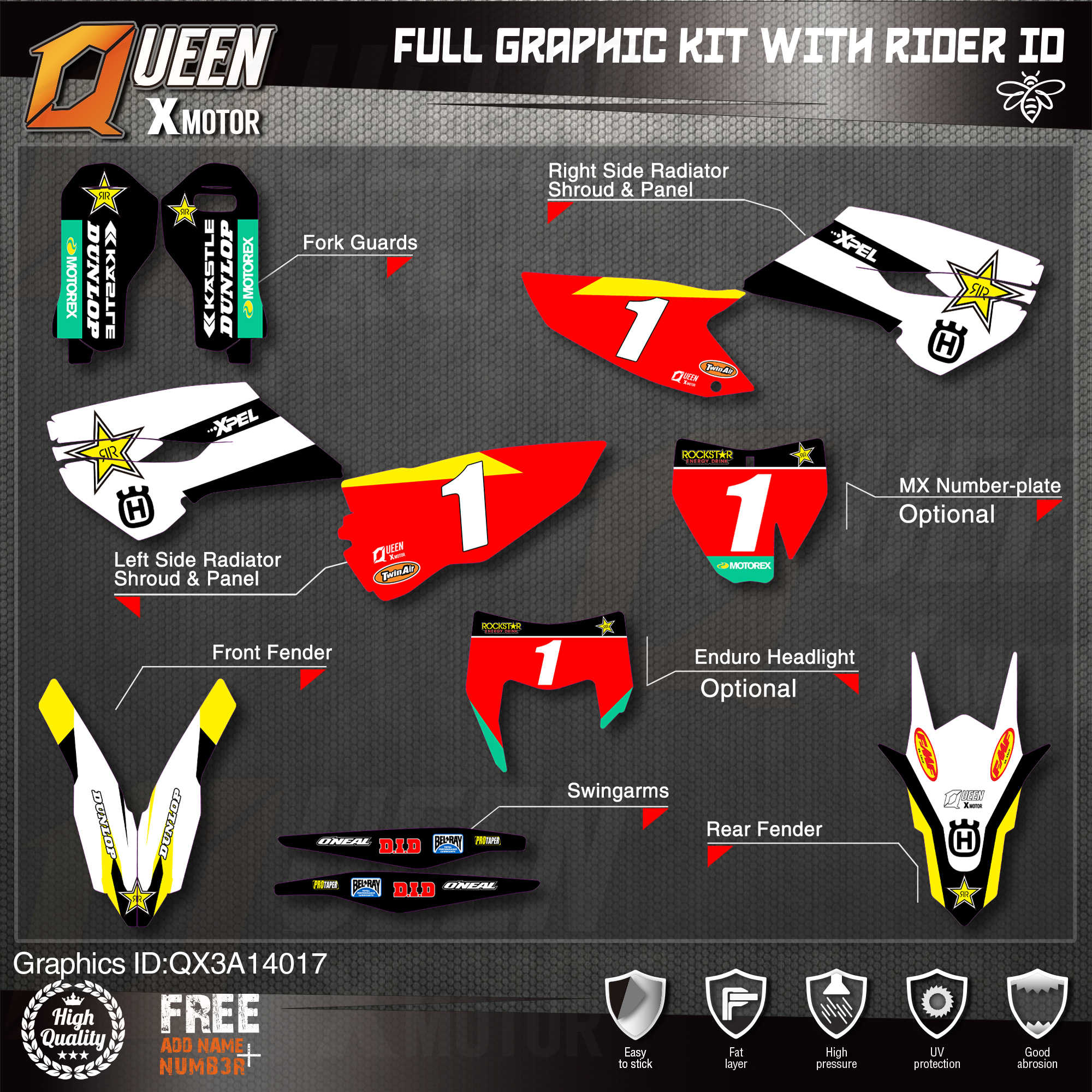 HUSQVARNA TC-FC-FS 125-450cc 2016-2018 New Fluo Graphics kits With Riders ID