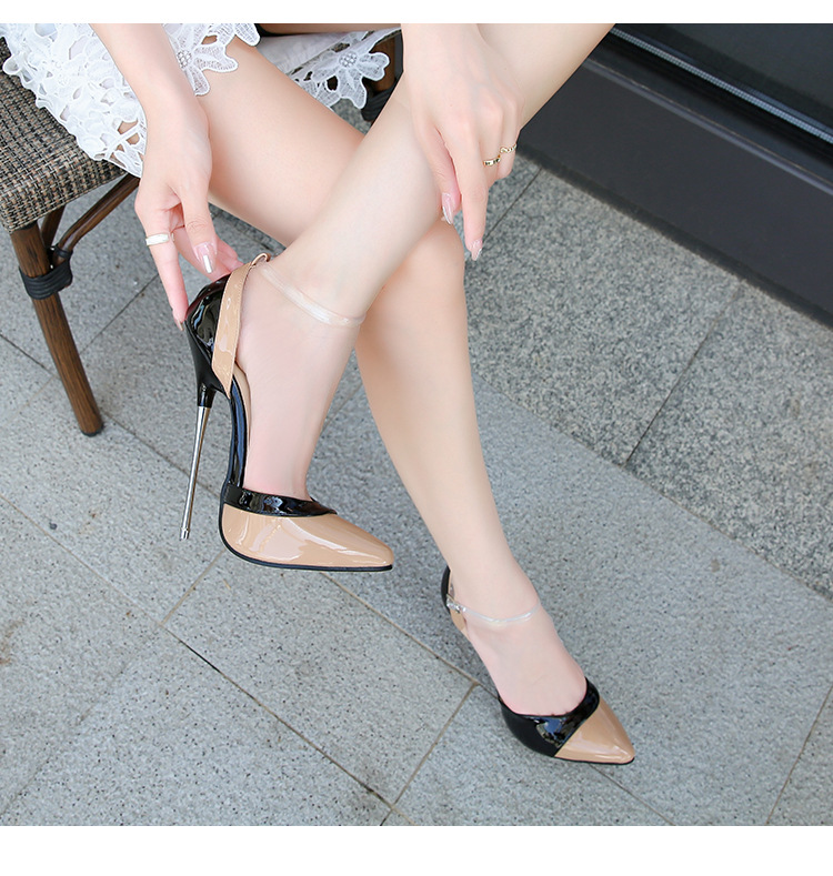 Women High Heels 16cm Fashion Mixed Colors Ankle Strap Size 46 Female Shoes Pumps Party Modeling Sandals Patent Leather Tacones