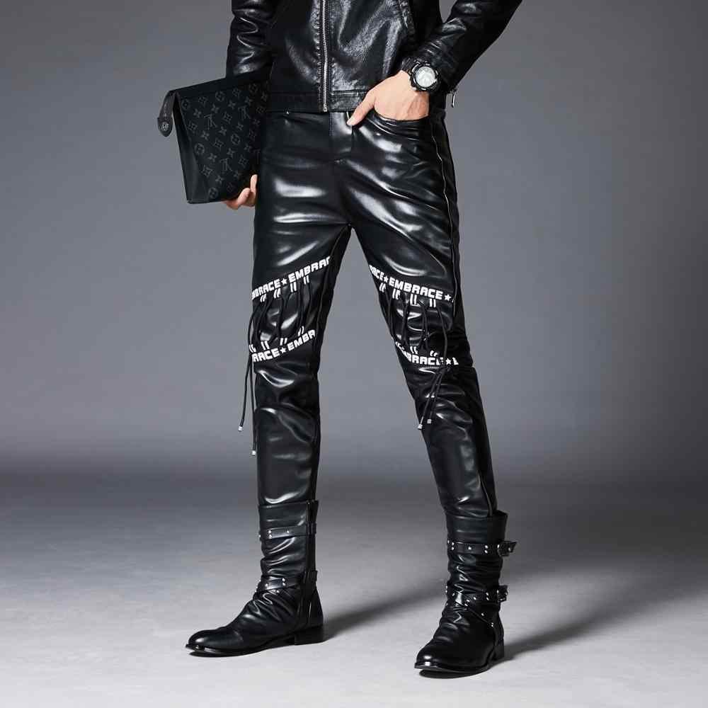 Pu Pantalones De Piel De Imitacion Para Hombres Marca De Moda Negro Ropa Casual Para Motos Punk Hip Hop Bicicleta Trouesr Pantalones Informales Aliexpress