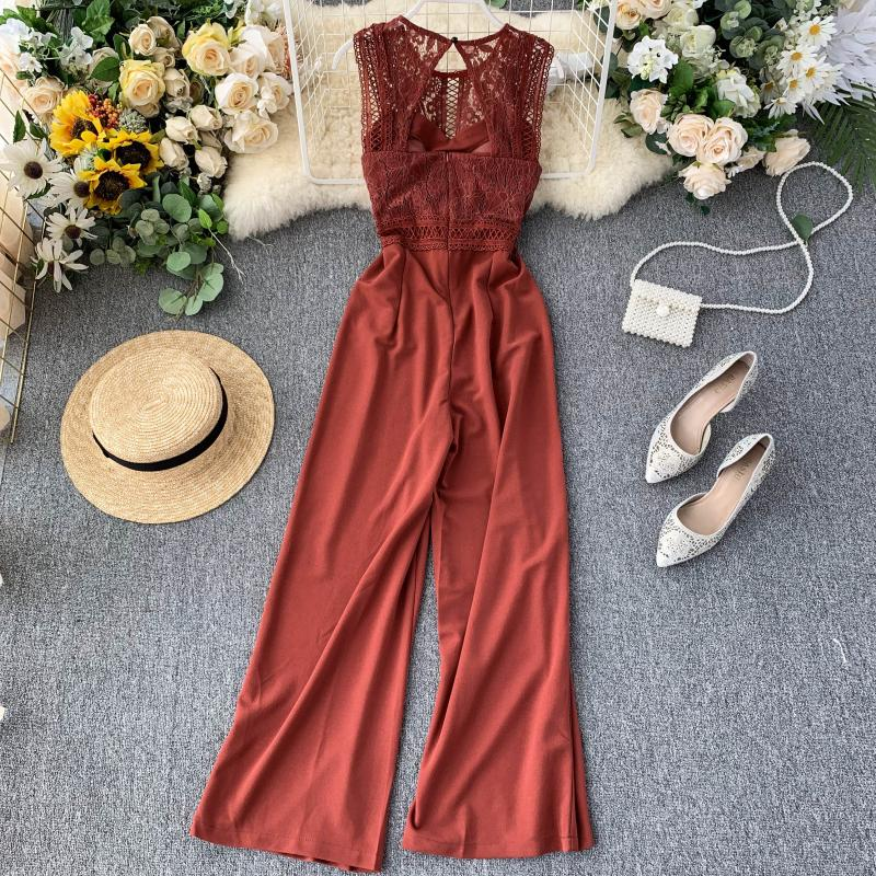 Elegant High Waist Hip Wide Leg Patchwork Lace Hollow Out Sleeveless Jumpsuit 5