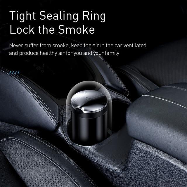 Baseus Car Ashtray LED Aluminum Alloy Ash Tray For Audi BMW Golf Cars Cup Holder Accessories Auto Ashtray Cigarette Holder Box