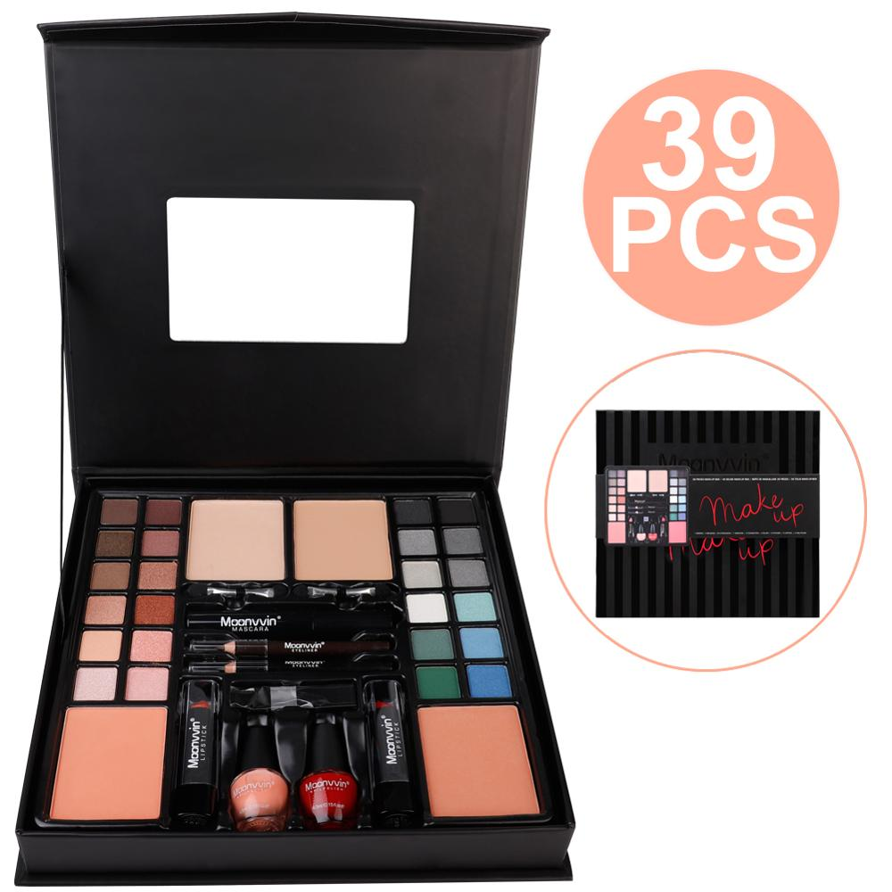 Classy All-in-One Makeup Set W/ 24 Smokey Eye Eyeshadows, Mascara, Eyeliner, Lipstick & Nailpaint