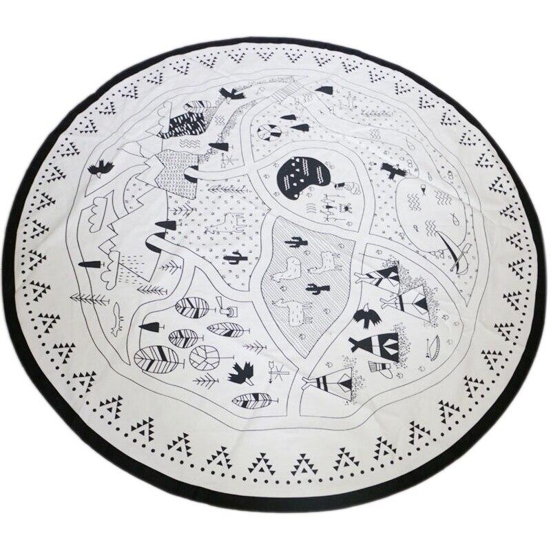Baby Nursing Photo Props Blanket Floor Playmat Animal Round Carpet Children's Crawling Play Mat Mug Diameter 53 Inch Black & Whi