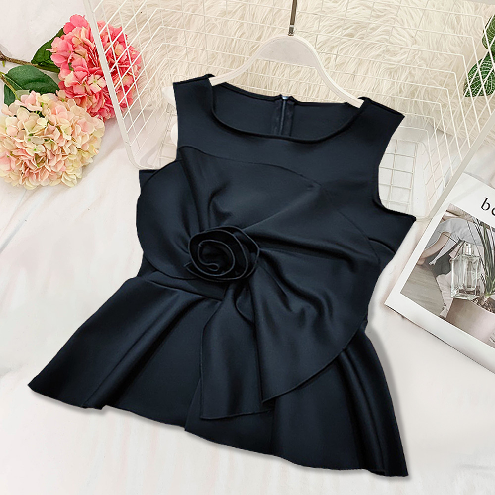 Ladies Sleeveless Black Fashion Soft Peplum Tops with Appliques Female New Summer Holiday Vest Tank Top Zipper Plus Size S XXL