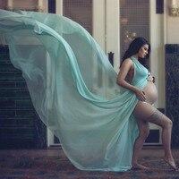 Halter Maternity Photo Shoot Long Dresses Chiffon Pregnancy Dress Photo Shoot Maternity Photography Props Gown Slit Open