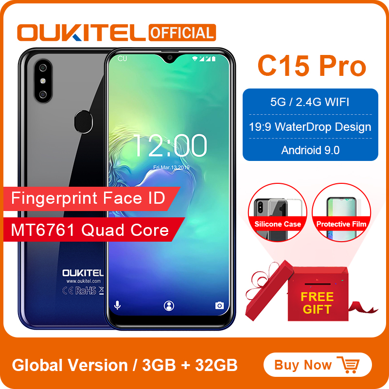 OUKITEL C15 Pro Android 9.0 Mobile Phone 3GB 32GB MT6761 Fingerprint Face ID 4G LTE Smartphone 2.4G/5G WiFi Waterdrop Screen
