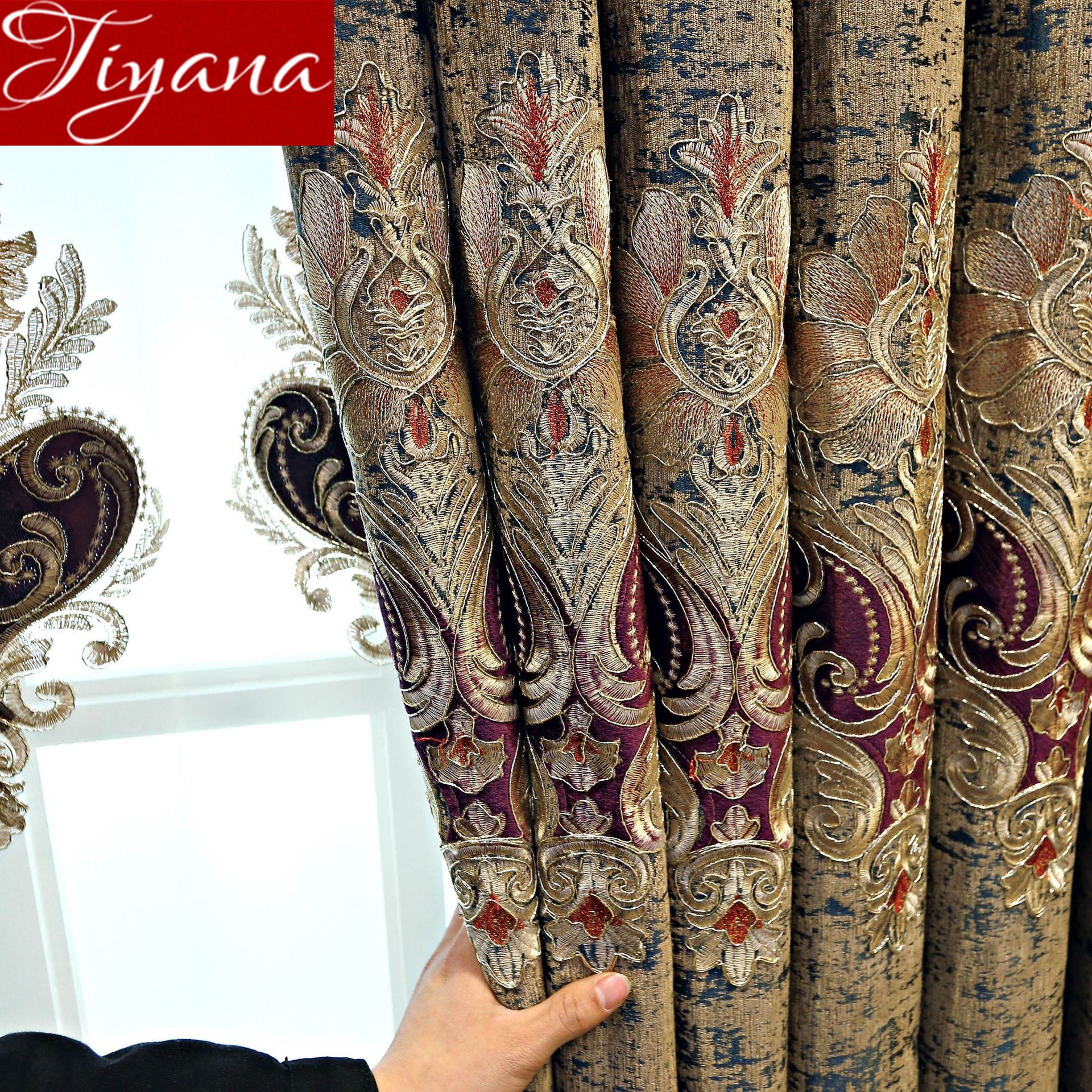 Luxury European Palace Style Chenille Noble Jacquard Embroidered Curtain Fabric Blackout For Living Room Drape Blinds X294#40