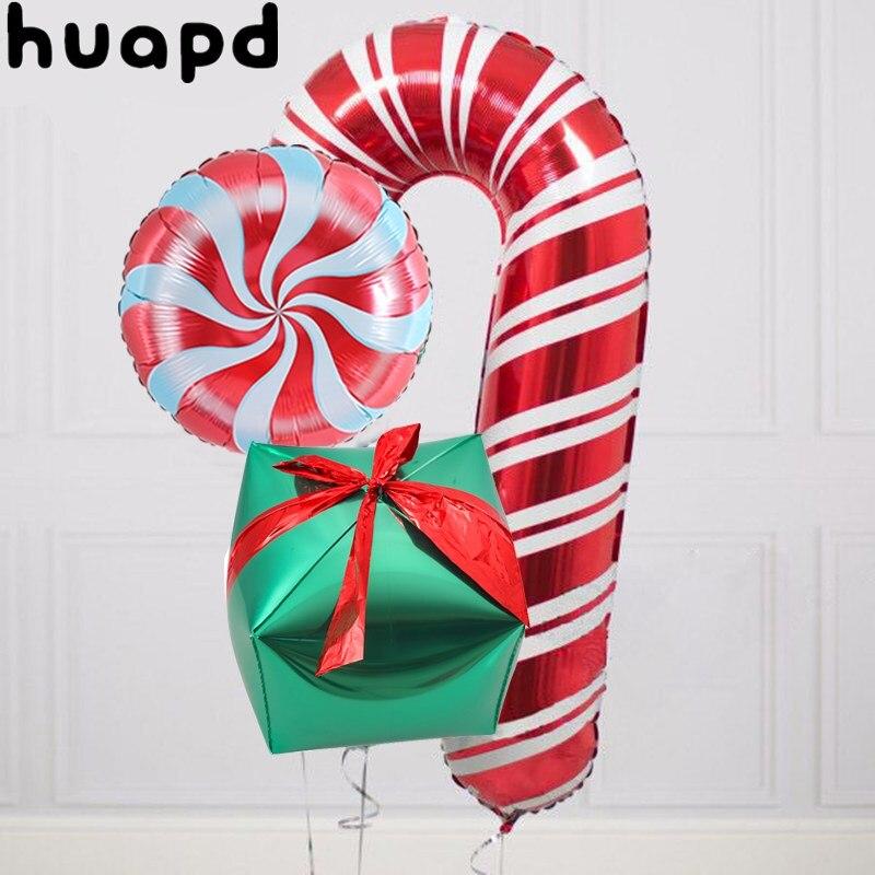 3 шт. алюминий воздушный шар из фольги красный леденец на палочке Веселый Рождественский шар 18 дюймов красного и зеленого цвета конфеты деко...