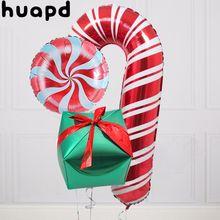 3 pçs folha de alumínio balão vermelho pirulito feliz natal balão 18 polegada vermelho verde doces decoração balão inflável festa suppl