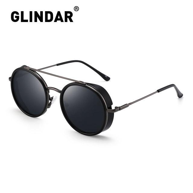 Retro Teampunk Round Sunglasses for Women Men Double Bridge Metal Frame Sun Glasses