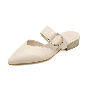 Image 5 - Sianie Tianie 2020 summer square low heels pointed toe yellow buckle woman outdoor slippers ladies shoes women mules size 46 48