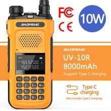 Genuíno 2021 baofeng novo UV-10R walkie talkie 10w 8000mah transceptor de banda dupla 136-174 & 400-520mhz rádios de presunto typ c