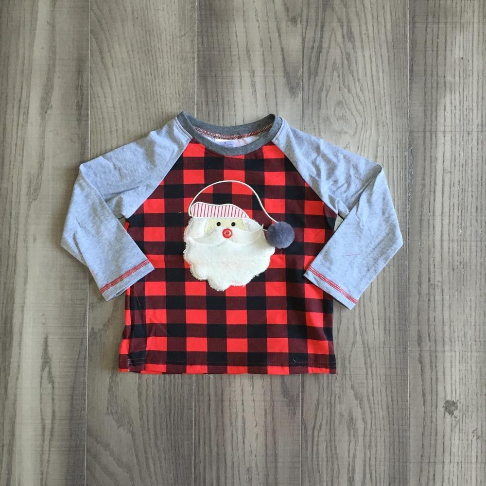 Girlymax Christmas Fall/Winter baby Boys Santa Claus Snowman Camo Plaid boutique t-shirts clothes cotton top raglans long sleeve 5