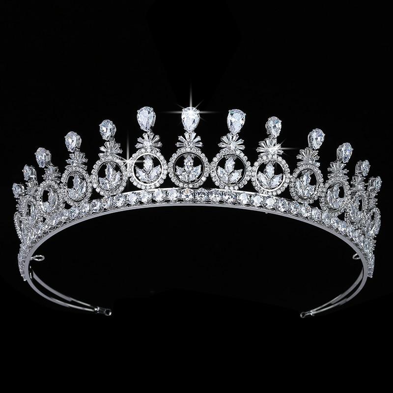 Корона HADIYANA изысканные Изящные винтажные женские свадебные аксессуары для волос праздничный подарок ювелирные изделия для волос циркон
