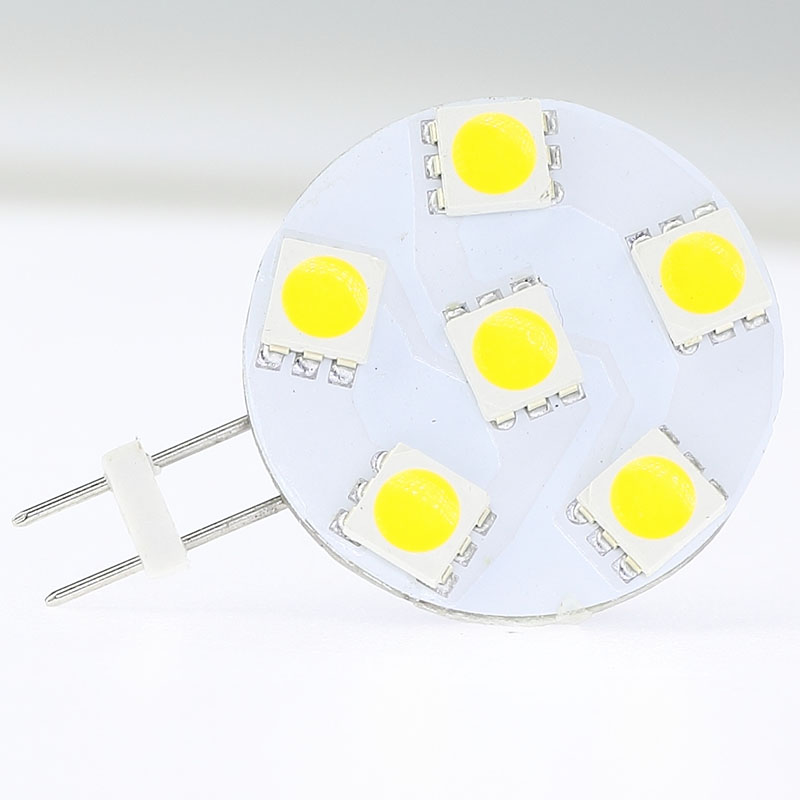 Free Ship !!! 20pcs/lot Dimmable G4 LED Spot Bulb 6LEDs Of SMD 5050 White Warm White 1W Wide Voltage AC/DC10-30V  Round Lamp