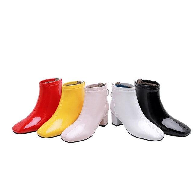 YMECHIC בתוספת גודל ממתקי צהוב לבן שחור ורוד בלוק עקבים גבוהים אופנה קרסול מגפי חזרה רוכסן מתוק לוליטה נעלי חורף 2019