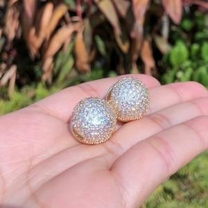 Image 4 - Newranos Gold Round Ball Earrings Cubic Zirconias Hoop Earrings Hollow Geometric Ball Metal Earrings for Women Jewelry ELS001784