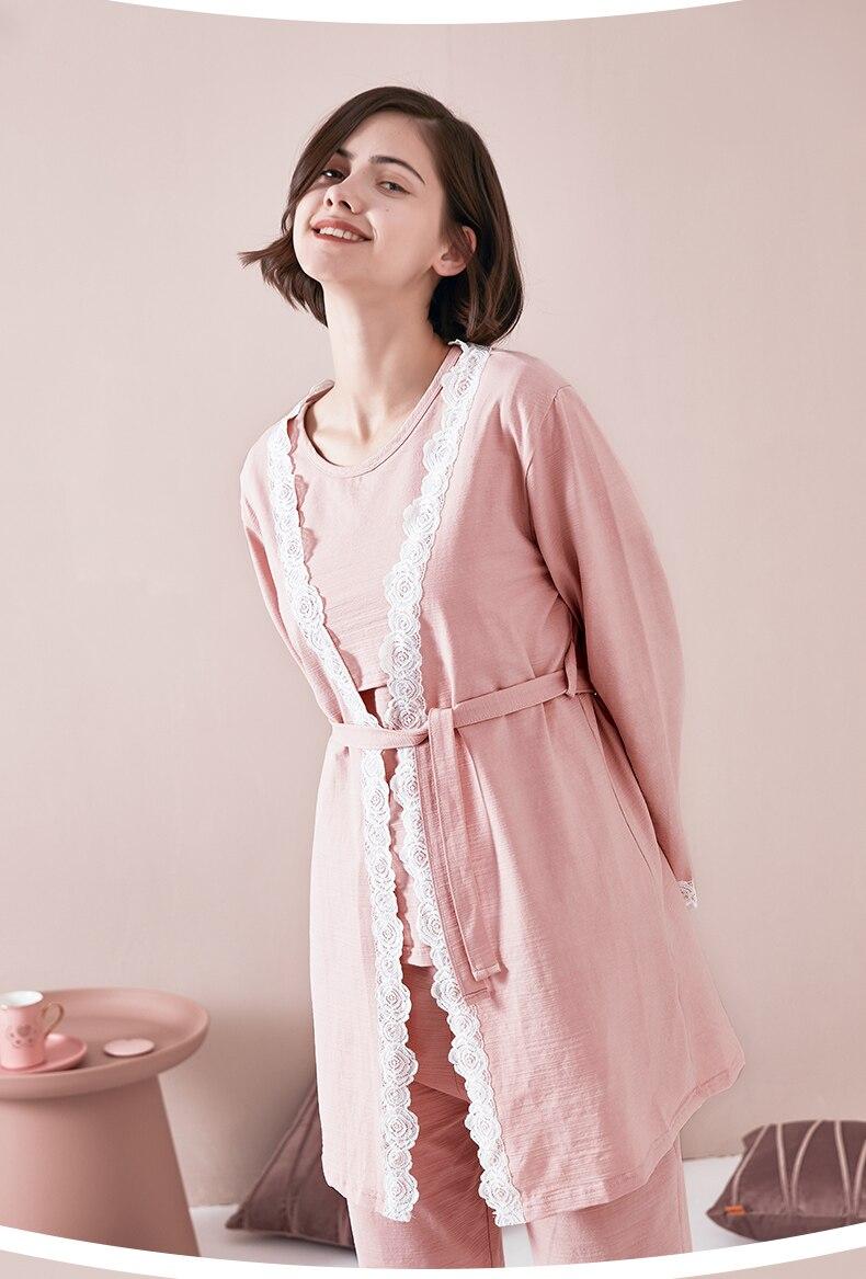 Maternity Pajamas 3 PCs/Set Maternity Nursing Sleepwear Breastfeeding Pregnant Nightwear Summer Spring Pregnancy Nursing Clothes Women Women's Clothings