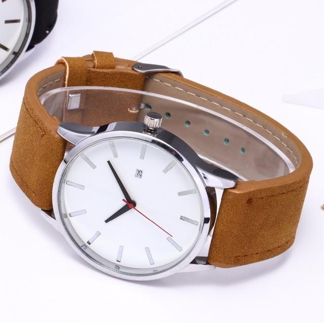 Large Dial Quartz Leather Business Casual Wristwatch 5
