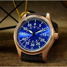 サンマーティン男性ブロンズ機械式パイロットの腕時計発光ダイヤルスケール 200 メートル防水サファイアガラスレザーストラップ男性腕時計
