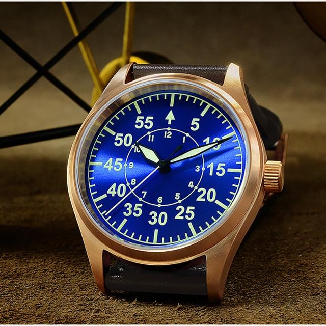 San Martin Men Bronze Mechanical Pilot Watches Luminous dial Scale 200m Waterproof Sapphire Glass Leather Strap Male Wrist watch