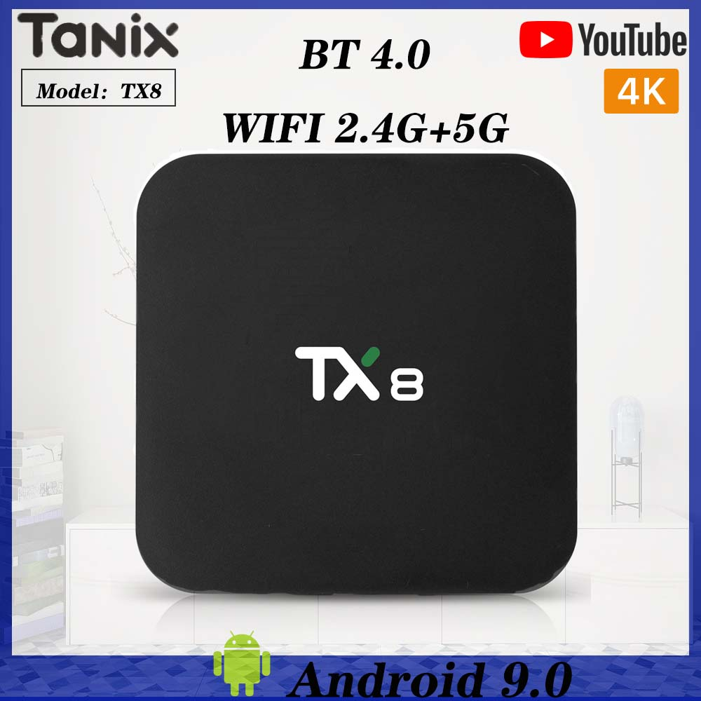 Tanix TX8 Smart TV mi Box Android 9.0 Rockchip RK3318 Quad-core 4GB 32GB 64GB Wifi HDR 4K lecteur multimédia Youtube iptv décodeur image