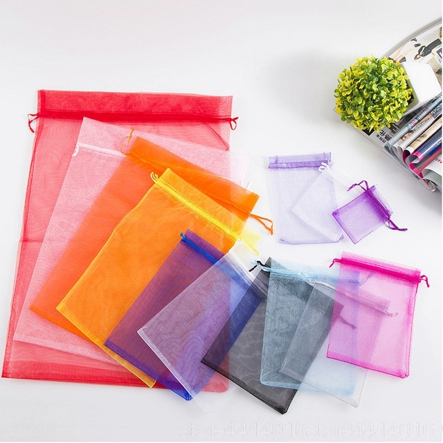 100 ADET 7x9 9x12 10x15 15x20CM Organze hediye çantası İpli Organze Ambalaj çanta Düğün Parti Takı Çantası Hediye Torbalar 88