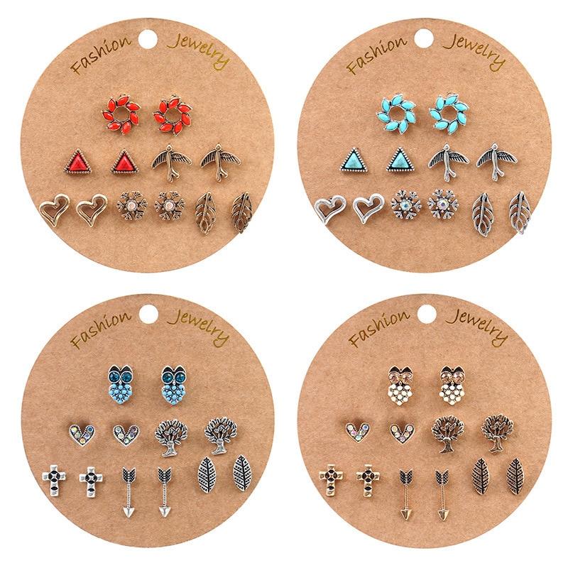 Luokey Vintage Leaf Heart Arrow Owl Christmas Tree Stud Earrings Set Female Tiny Ethnic Tribal Earrings Women's Ear Accessories(China)
