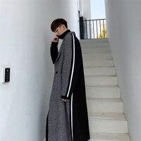 Men Windbreaker Jacket Vintage Streetwear Fashion Hip Hip Plaid Splice Loose Long Wool Trench Coat Male Outerwear