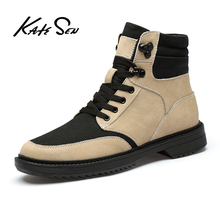 KATESEN New Plush keep Super Warm Men Boots Winter Boots Rubber Plush Snow Boots England Retro ankle boots For Men Winter Shoes classic zapatillas winter outdoor leisure men boots plush warm tooling cotton shoes england boots men s shoes snow boots