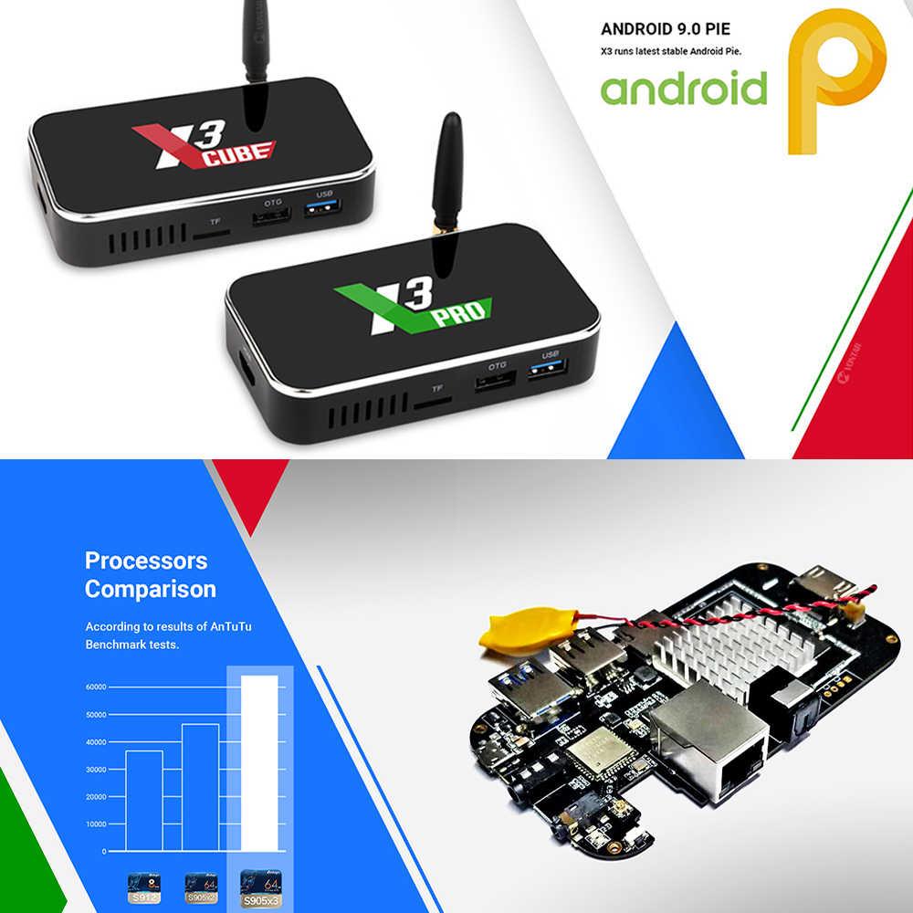 Ugoos X3 פרו טלוויזיה תיבת אנדרואיד 9.0 TVBox Amlogic S905X3 4GB RAM 32GB X3 בתוספת 64GB DDR4 wiFi 1000M 4K X3 קוביית 2GB 16GB סט Top Box