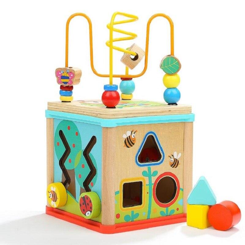 Bébé jouets éducatifs 5 en 1 activité en bois Cube perle labyrinthe multi-usages jouet éducatif pour les enfants (5 en 1)