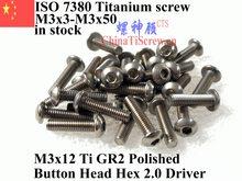 ISO 7380 M3 Титан винты M3x3 M3x4 M3x5 M3x6 M3x7 M3x9 M3x8 M3x10 M3x12 M3x14 с полукруглой головкой с шестигранной головкой 2 Драйвер Ti GR2 полированная