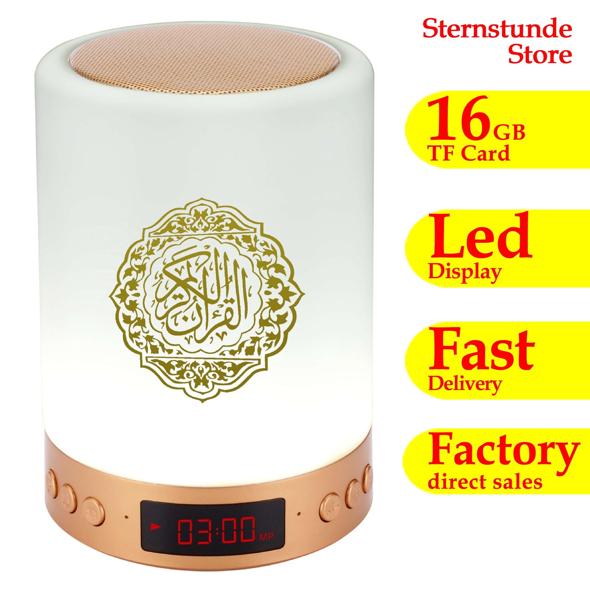 16gb de memória toque alcorão alto-falante lâmpada sem fio bluetooth mp3 player rádio alcorão digital muçulmano presente led azan relógio luz da noite