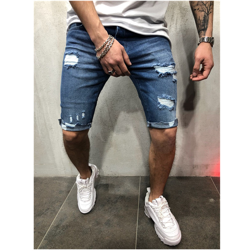 2020 Mens Denim Chino Shorts Super STRETCH Skinny Slim Summer Half Pant Cargo Jeans Slim Fit