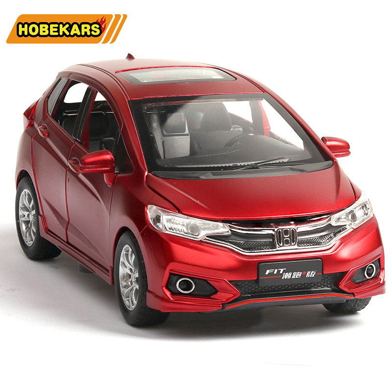 Diecast 1:32 Honda Fit Model Car Metal Alloy Car Simulation Pull Back Vehicles Cars Toys For Kids Gifts For Children