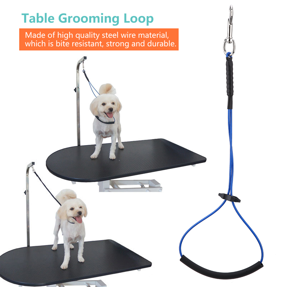 Pet Dog Cat Grooming Table Harness Adjustable Double Noose Loop Rope Arm Line