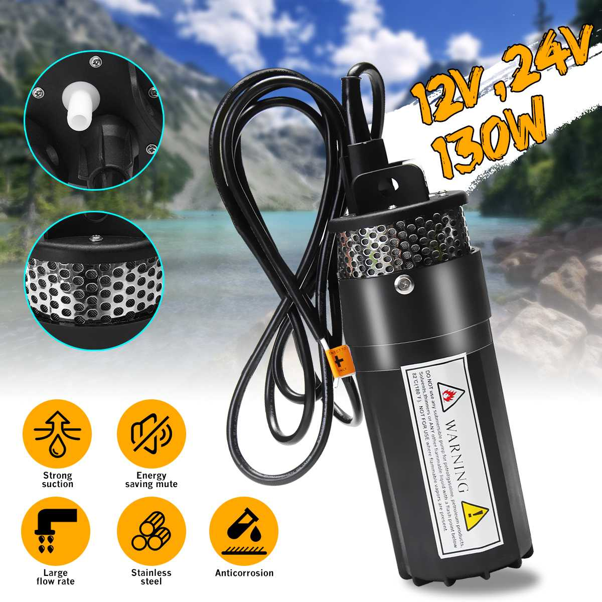 12V DC Electric Submersible Pump Deep Well Water Pump Solar Water Pumps For Home Garden Irrigation + 15A Solar Panel Controller