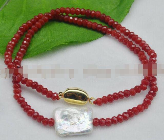 Natural 14X17mm blanco genuino Perla Barroca facetada 2x4mm rojo rubí collares