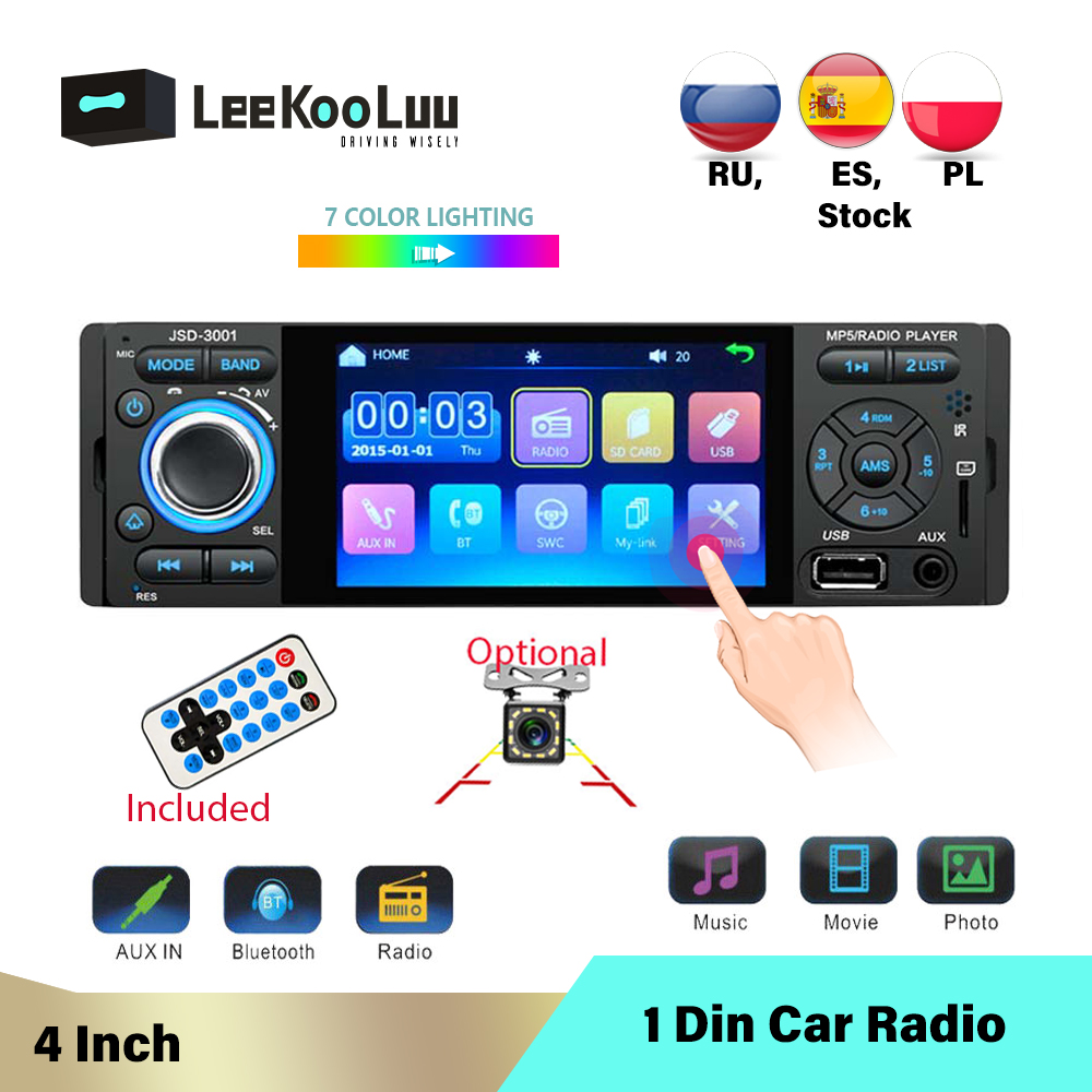LeeKooLuu 1 Din Autoradio 4.1 pouces MP5 Automotivo In-Dash Autoradio 1Din Autoradio Coche USB SD Bluetooth télécommande caméra