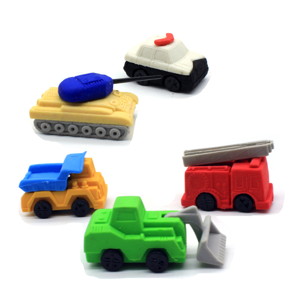5pcs/2pcs Truck Crane Engine Tank Rubber Pencil Eraser Stationary School Supplies Items Kawaii Office Cartoon Kids Gift Prizes