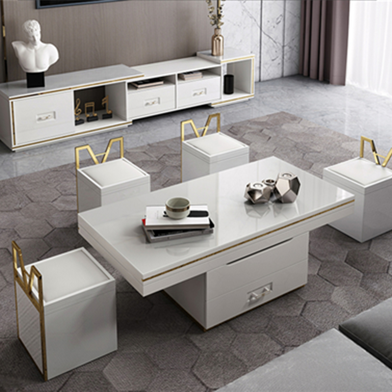electric multifunction foldable coffee table living room liftable and lowerable minimalist rectangle mesas centro dining table