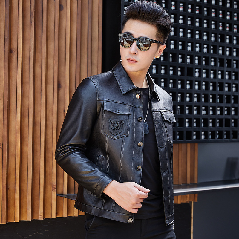 Genuine Men Motorcycle Sheepskin Coat Short Slim Men's Streetwear Leather Jacket Veste Cuir Homme SY1916F YY424