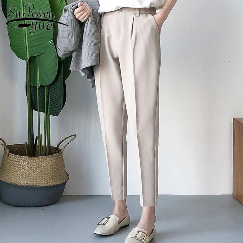 Fashion women   pants   2019 Button Fake Zippers   wide     leg     pants   harajuku Solid High Flat Harem   Pants   black   pants   plus size 5091 50