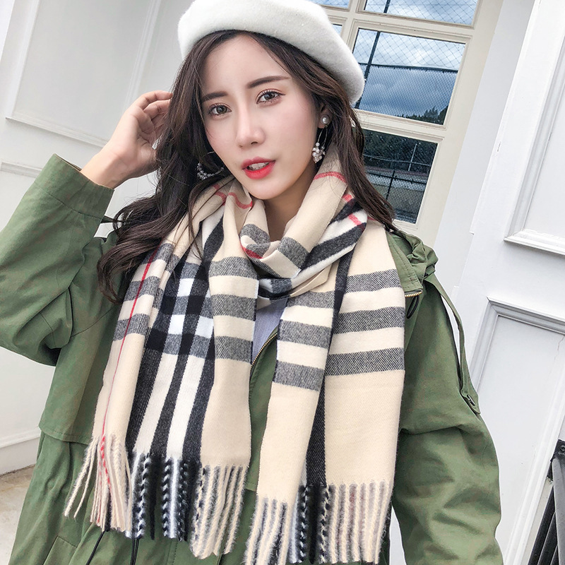Autumn And Winter New Style Faux Cashmere Scarf INS Korean-style Versitile Fashion Shawl Retro England Tassels Plaid Scarf