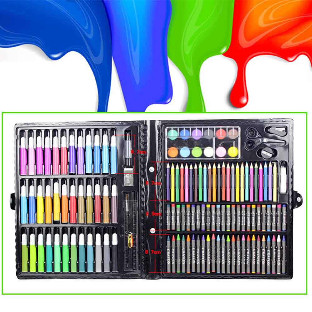 150 Pcs/Set Drawing Tool Kit With Box Painting Brush Art Marker Water Color Pen Crayon Kids Gift JHP-Best