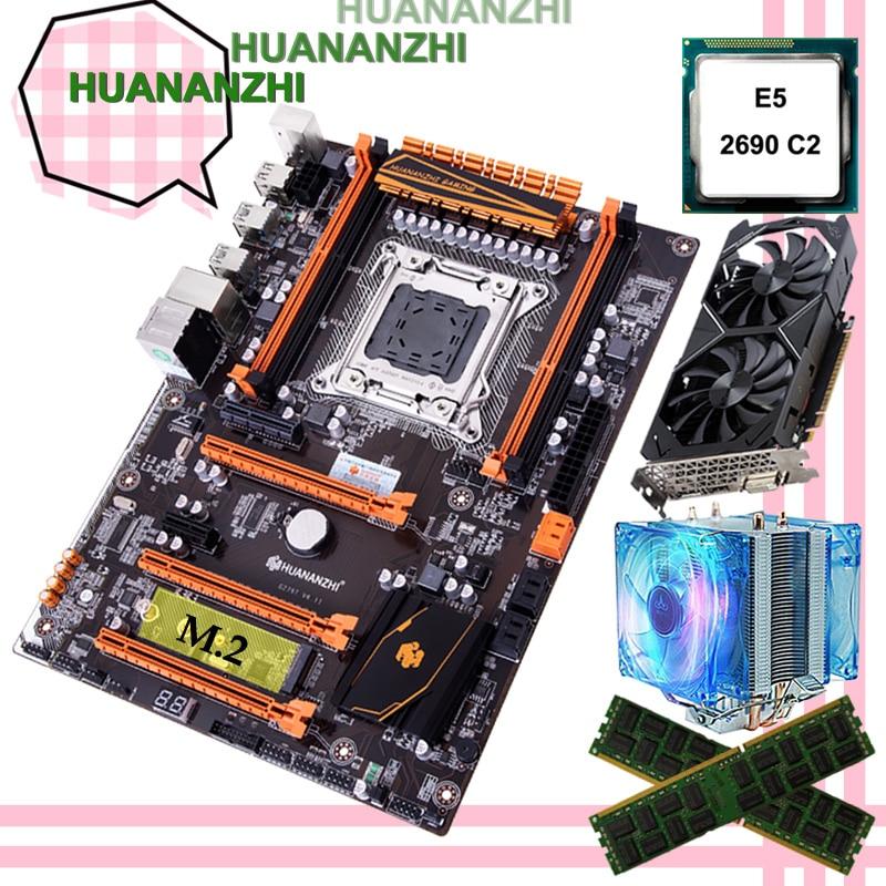 Discount HUANANZHI X79 Deluxe Gaming Motherboard With M.2 Slot CPU Intel Xeon E5 2690 C2 RAM 32G(2*16G) Video Card GTX1050ti 4G