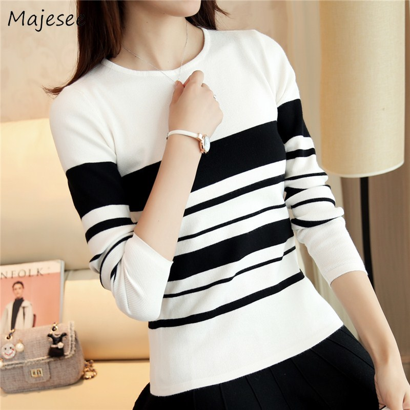 Pullovers Women Slim Striped Knitted Pullover Sweaters Womens Simple All-match Ladies Causal Soft Korean Style Chic O-Neck New