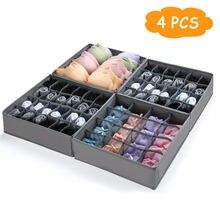 4 Pcs Dormitory closet organizer for socks home separated underwear storage box 7 16 24 grids bra organizer foldable drawer